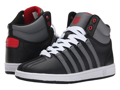 K-Swiss Kids - Classic VN Mid (Big Kid) (Black/Smoked Pearl/Mars Red) Boys Shoes