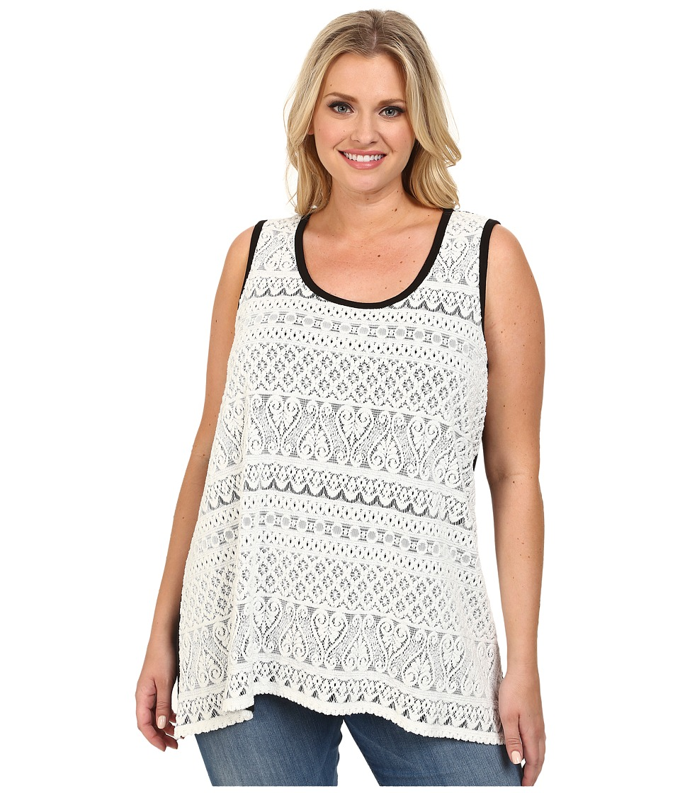 Karen Kane Plus - Plus Size Lace Tank Top (Off White) Women's Sleeveless