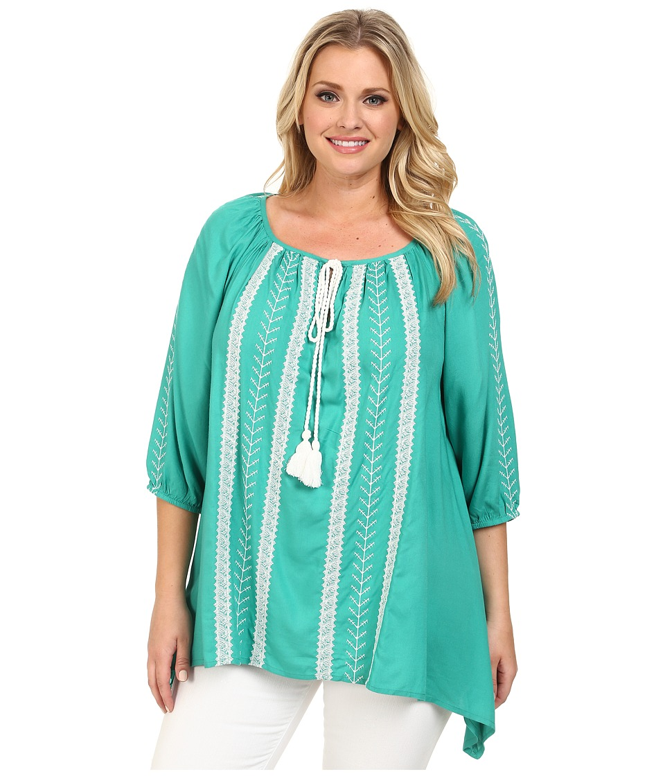 Karen Kane Plus - Plus Size Embroidered Tassel Tie Top (Green) Women's Blouse