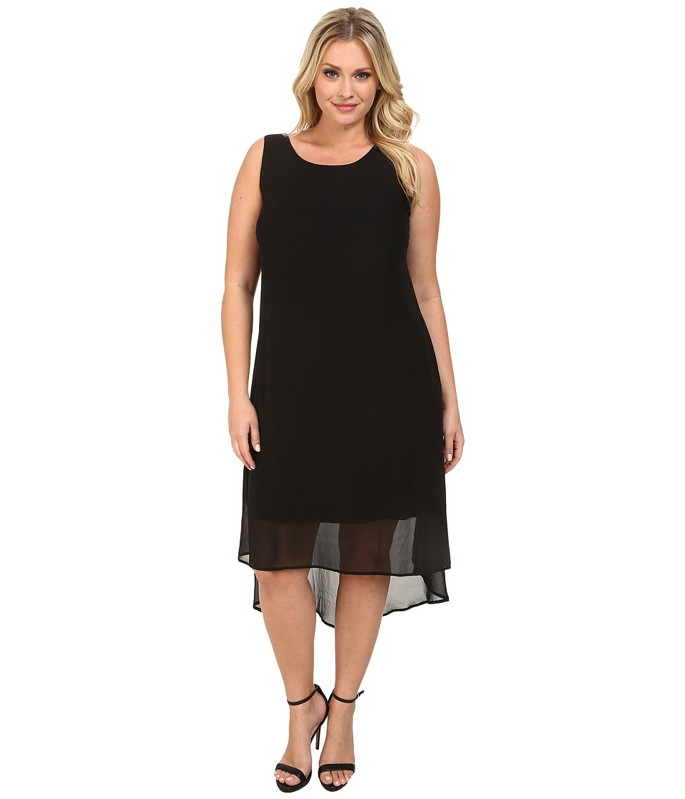 Karen Kane Plus - Plus Size Sheer Hi Lo Dress (Black) Women's Dress