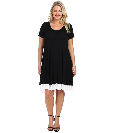 Karen Kane Plus - Plus Size Layered Trapeze Dress (Black/Off White) Women's Dress