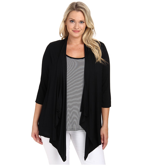 Karen Kane Plus - Plus Size Tank Top Cardigan Combo (Black) Women
