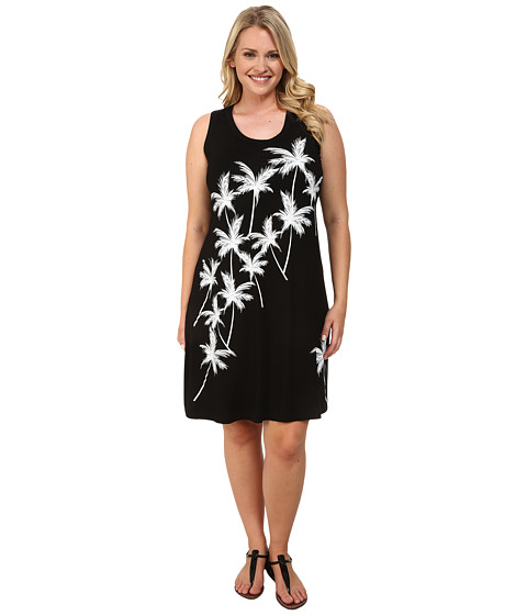 Karen Kane Plus - Plus Size Palms Dress (Black) Women's Dress