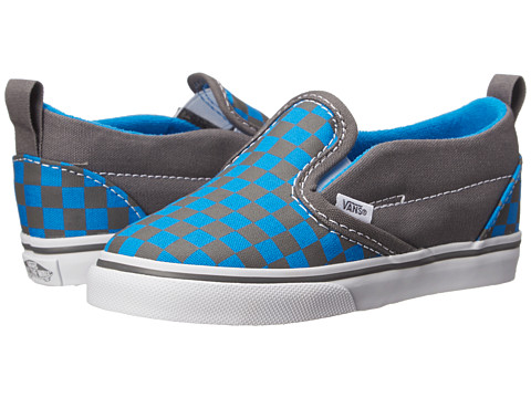 Vans Kids - Slip-On V (Toddler) (Pewter/Brilliant Blue) Boys Shoes