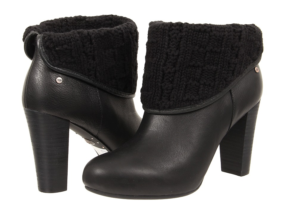 UGG - Dandylion Tres (Black Knit/Leather) Women's Zip Boots