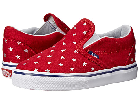 Vans Kids - Classic Slip-On (Toddler) ((Foil Stars) Red/Blue) Girls Shoes