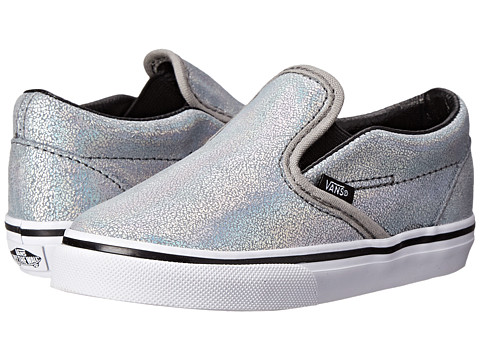 Vans Kids - Classic Slip-On (Toddler) ((Matte Iridescent) Silver) Girls Shoes