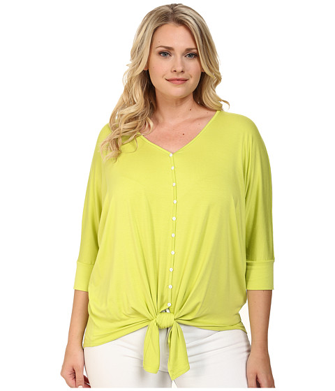 Karen Kane Plus - Plus Size Button Tie Front Dolman Top (Lime) Women's Clothing