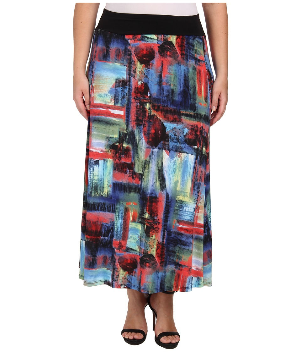 Karen Kane Plus - Plus Size Painted Canvas Maxi Skirt (Print) Women's Skirt