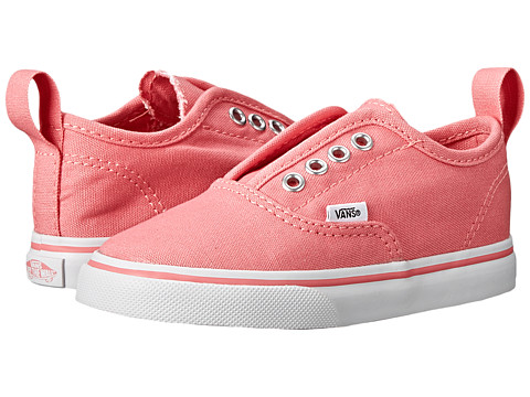 Vans Kids - Authentic V (Toddler) (Strawberry Pink/True White) Girls Shoes