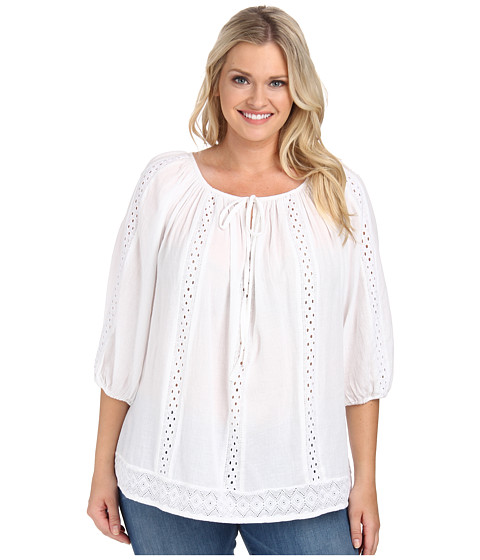 Karen Kane Plus - Plus Size Embroidered Peasant Top (Off White) Women's Blouse