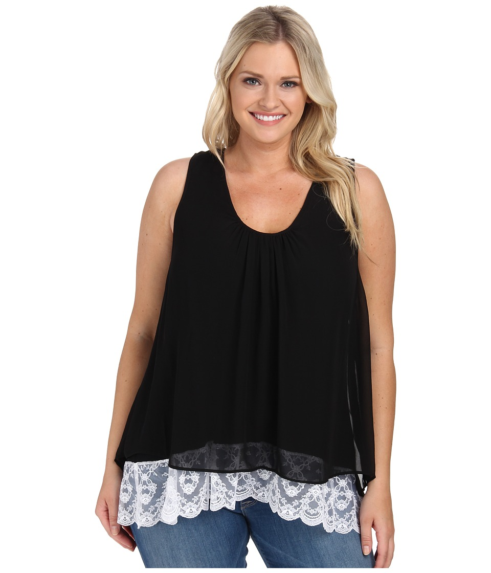 Karen Kane Plus - Plus Size Lace Hem Tank Top (Black) Women's Sleeveless