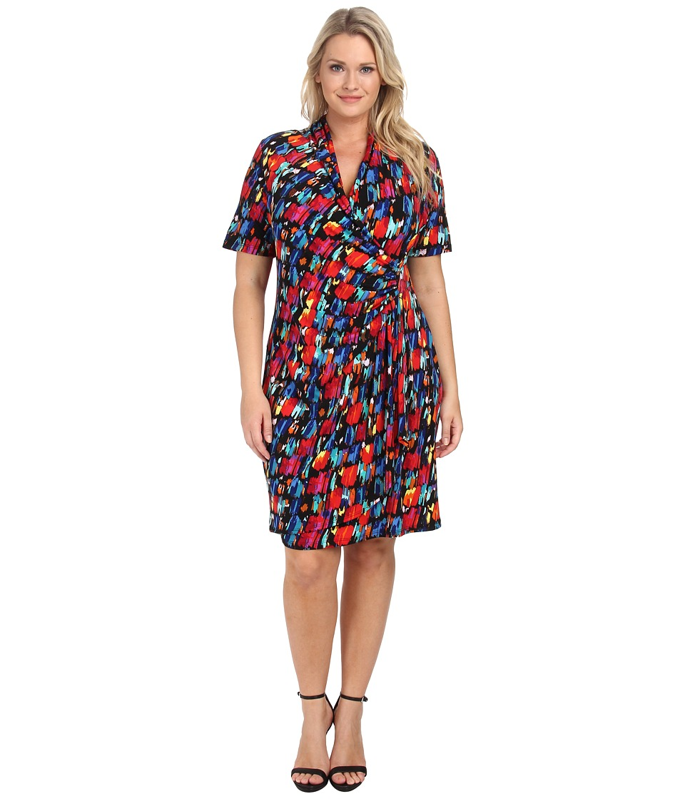Karen Kane Plus - Plus Size Paint Print Cascade Wrap Dress (Print) Women's Dress