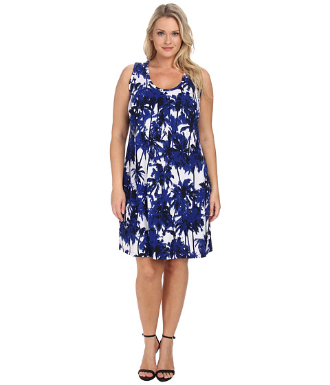 Karen Kane Plus - Plus Size Palm Print Tank Top Dress (Print) Women's Dress