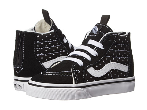 Vans Kids - Sk8-Hi Zip (Toddler) ((Micro Hearts) Black/True White) Girls Shoes