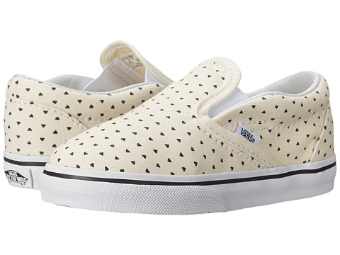 Vans Kids - Classic Slip-On (Toddler) ((Micro Hearts) Classic White/Black) Girls Shoes
