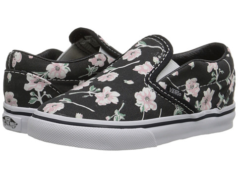 Vans Kids - Classic Slip-On (Toddler) ((Vintage Floral) Blue Graphite) Girls Shoes