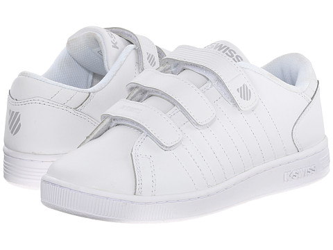 K-Swiss Kids - Lozan 3-Strap (Little Kid) (White/White/Silver) Kids Shoes