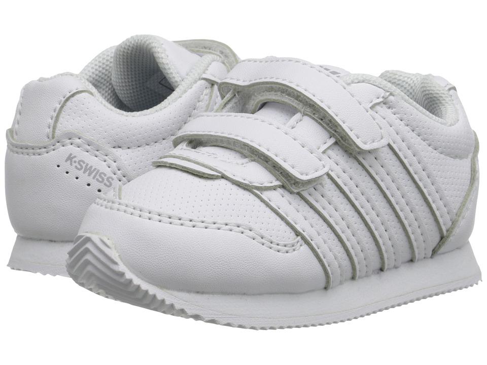 K-Swiss Kids - New Haven S Strap (Infant/Toddler) (White/Gull Grey) Kids Shoes