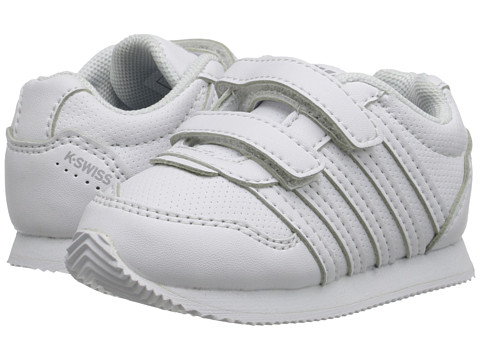 K-Swiss Kids - New Haven S Strap (Infant/Toddler) (White/Gull Grey) Kids Shoes