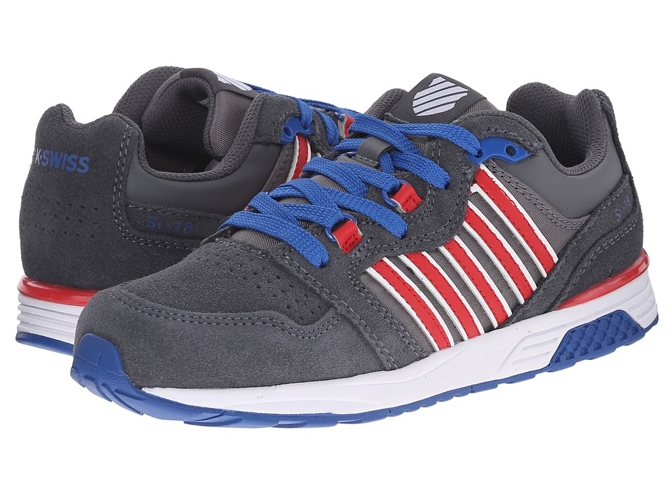 K-Swiss Kids - SI-18 Trainer 2 SDE (Big Kid) (Charcoal/Red/Classic Blue) Boys Shoes