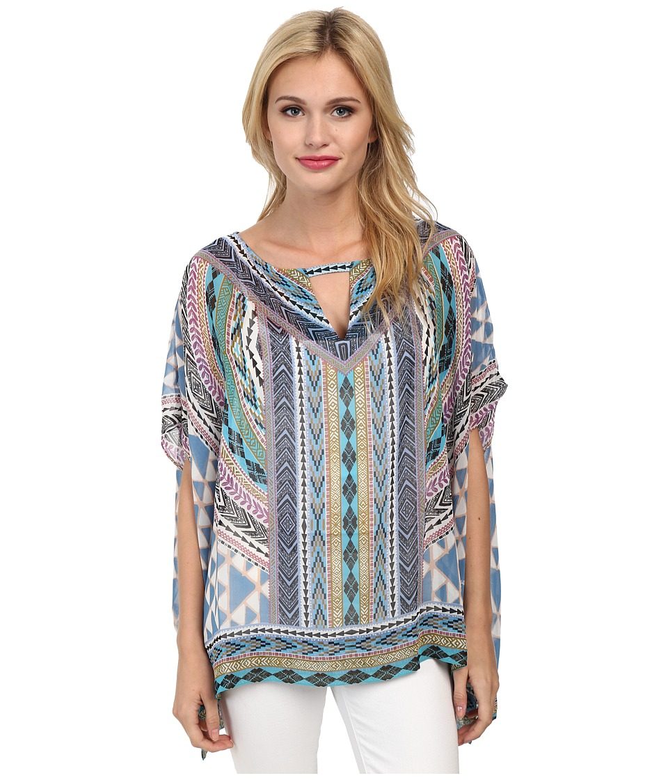 Hale Bob - Native Tones Butterfly Sleeve Tunic (Blue) Women's Blouse