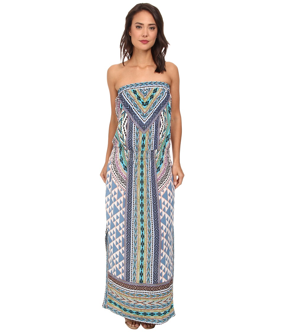 Hale Bob - Native Tones Tube Top Maxi w/ Smocked Hip Band (Blue) Women's Dress