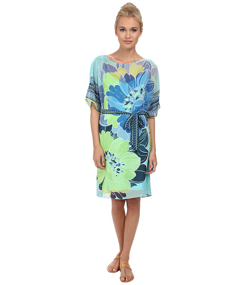 Hale Bob - Flower Fantasy Butterfly Dress (Turquoise) Women's Dress