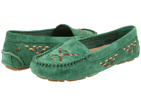 UGG - Calze Rustic Weave (Ranger Green Suede) Women's Slip on Shoes