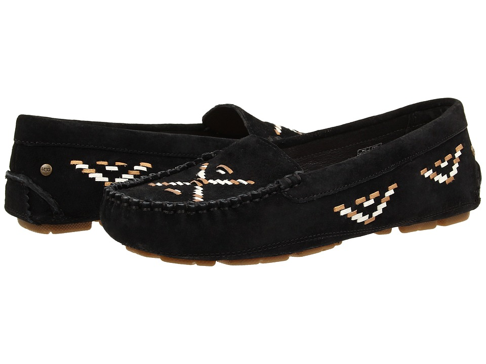 UGG - Calze Rustic Weave (Black Suede) Women's Slip on Shoes
