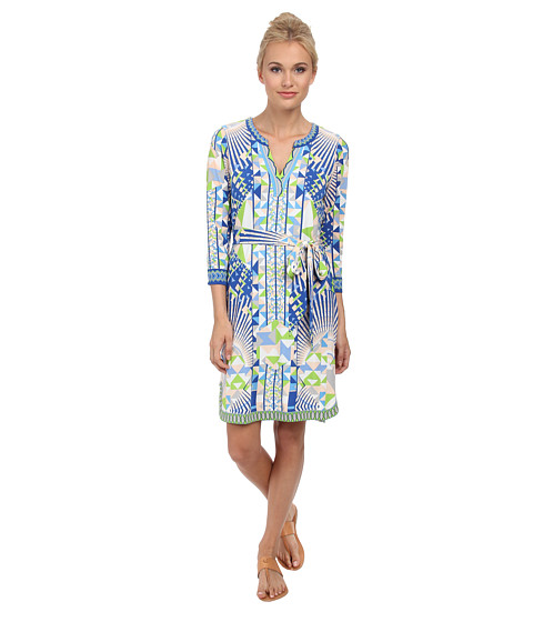Hale Bob - Psychedelic City Faux Wrap Dress (Lime) Women's Dress