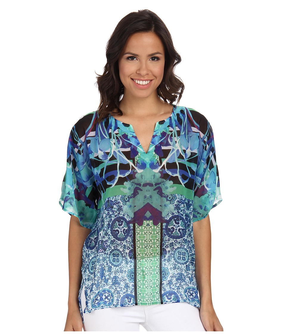 Hale Bob - South Beach Blooms Tee (Lime) Women's Blouse