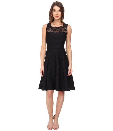 London Times - Lace Inset Neck Full Skirt (Black) Women's Clothing