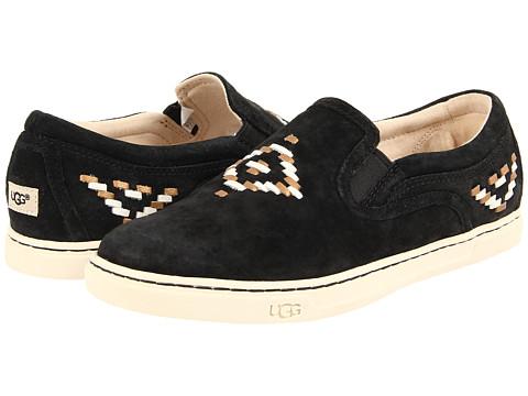 UGG - Fierce Rustic Weave (Black Suede) Women's Slip on Shoes