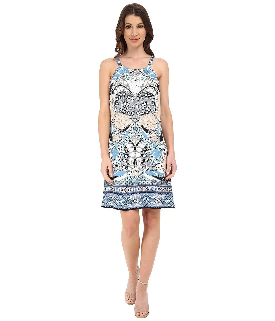 Hale Bob Butterfly Faux Halter Dress (Gray) Women