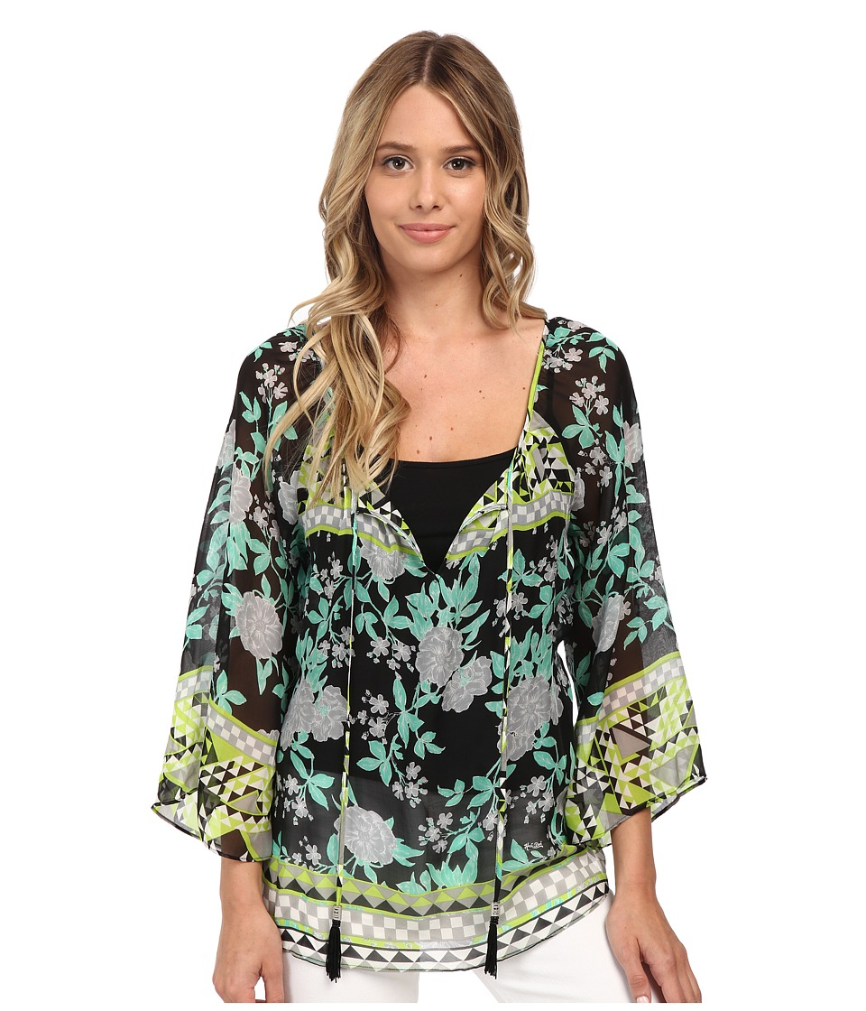 Hale Bob - Bold Blooms Long Sleeve Blouse (Black) Women's Blouse