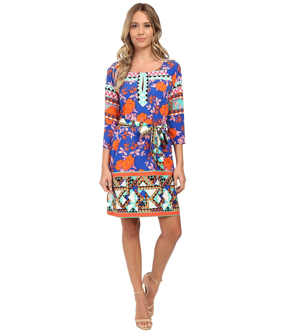 Hale Bob - Bold Blooms 3/4 Sleeve Shift Dress (Blue) Women's Dress
