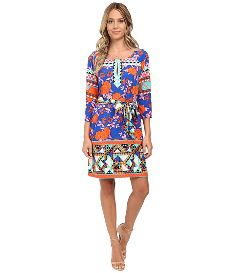Hale Bob - Bold Blooms 3/4 Sleeve Shift Dress (Blue) Women