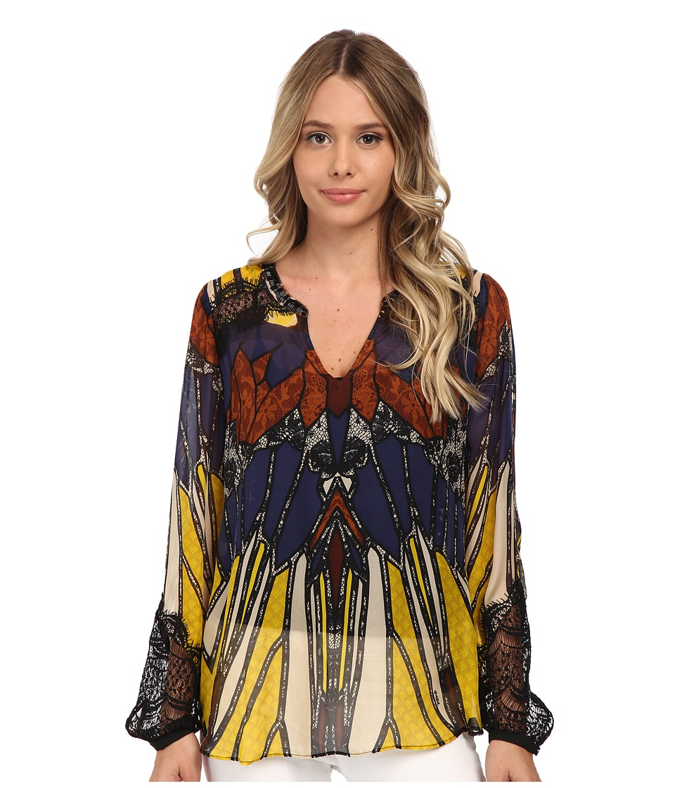 Hale Bob - Oasis In The City Long Sleeve Blouse w/ Lace Detail (Black) Women's Blouse