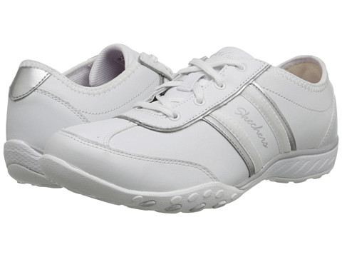 SKECHERS - Breathe-Easy - Little Gem (White/Silver) Women's Shoes