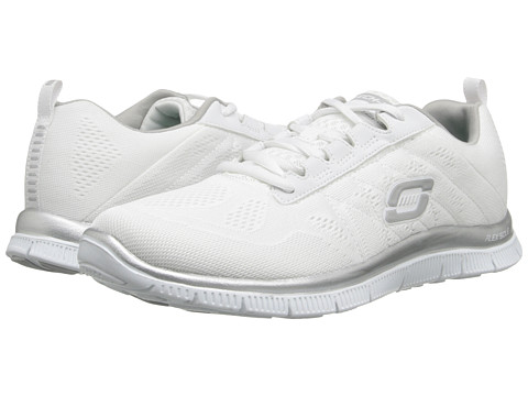 SKECHERS - Flex Appeal - Sweet Spot (White/Silver) Women's Shoes