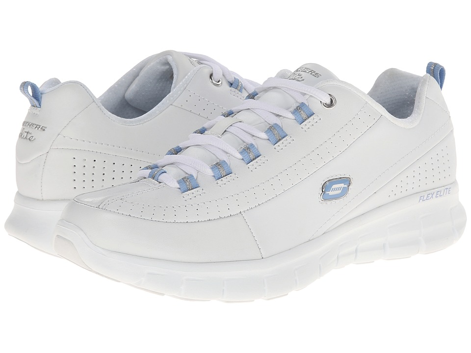 SKECHERS - Synergy - Elite Status (White/Blue) Women's Lace up casual Shoes