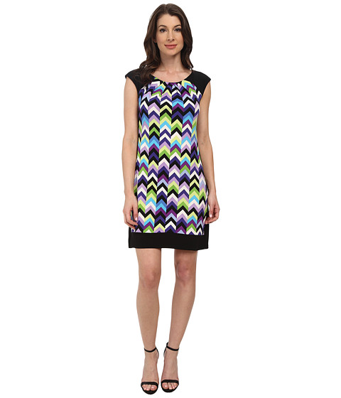 London Times - Cap Sleeve Vintage Chevron Print (Violet) Women's Dress
