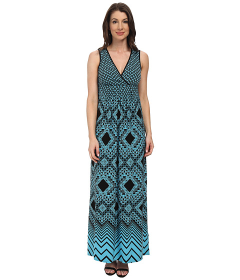 London Times - Empire Babydoll Maxi Dress (Black/Blue) Women