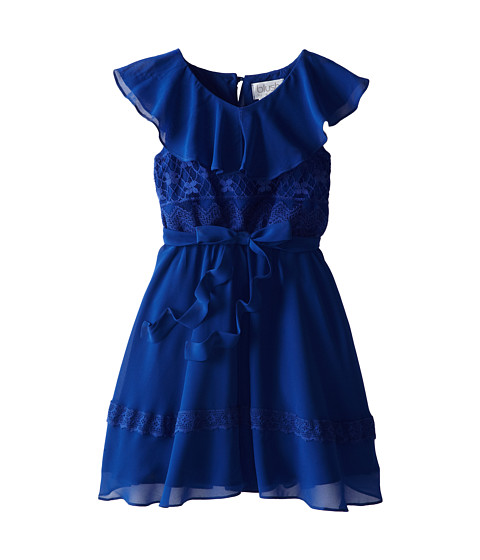 Us Angels - Ruffle Front Dress w/ Lace Bodice (Big Kids) (Navy) Girl