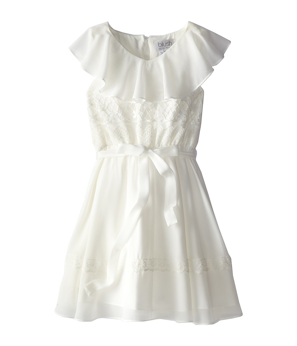 Us Angels - Ruffle Front Dress w/ Lace Bodice (Big Kids) (Ivory) Girl
