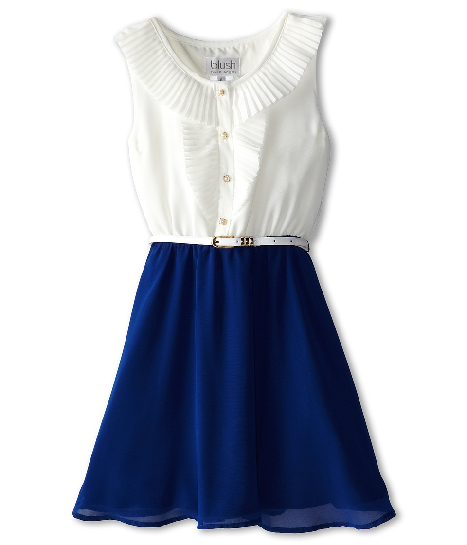 Us Angels - Sleeveless Pleated Collar w/ Full Skirt (Big Kids) (Navy) Girl's Dress