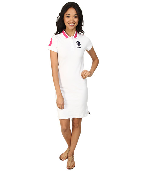 U.S. POLO ASSN. - Solid Polo Dress (White/Navy) Women's Dress