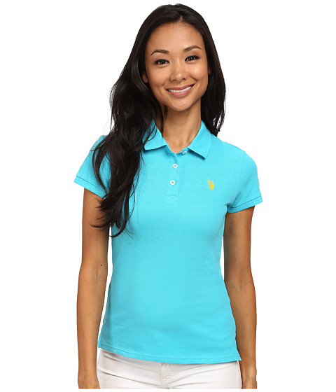 U.S. POLO ASSN. - Solid Small Pony Polo (Scuba Blue) Women's Short Sleeve Pullover