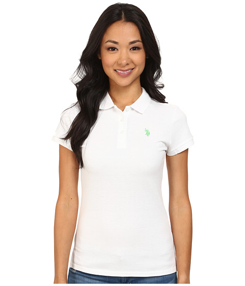U.S. POLO ASSN. - Solid Small Pony Polo (White/Surplus Green) Women's Short Sleeve Pullover